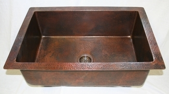 33 in. Copper Kitchen Sink Single Basin 9
