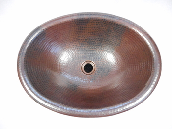 Master Bath 19 x 14 Oval Copper Rolled Edge Bathroom Vessel Sink