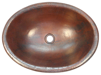 19 x 14 Oval Copper Rolled Edge Bathroom Sink  Drop In