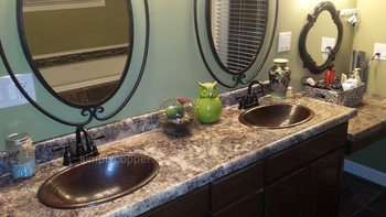 SimplyCopper 19 Oval Copper Bath Sink with Rolled Edge