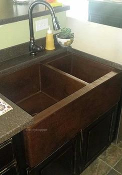 SimplyCoppper 33 in. Copper Farmhouse 60/40 Split Kitchen Sink 10