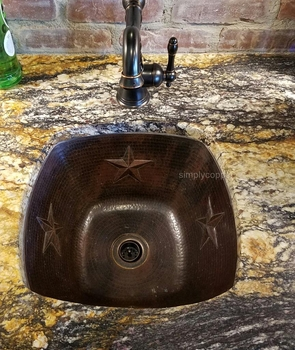 SimplyCopper 15 Square Bar/Prep Sink with Star Motif