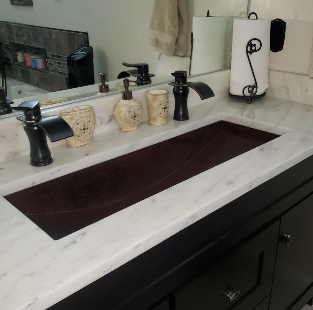 36 Rectangular Copper Trough Bathroom, Trough Sink For Bathroom