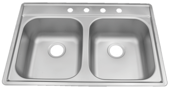 33 in Patriot PADD25 Oklahoman Drop-In Stainless Steel Double Bowl Kitchen Sink