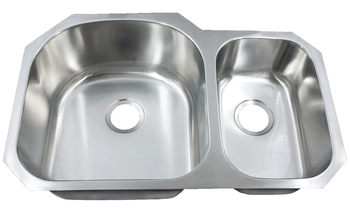 Leonet LE-297B Regal D-Bowl 70/30 Double Bowl Undermount Stainless Steel Kitchen