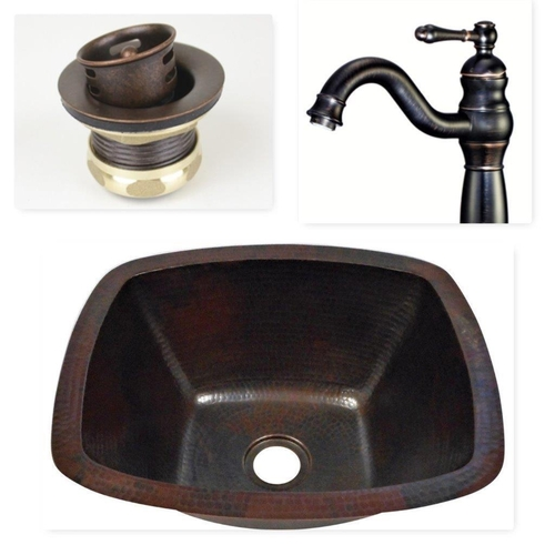 16 Rectangular Copper Bar Sink With 10 Faucet 3 1 2 Strainer