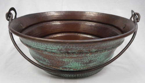 15 Quot Round Copper Vessel Bucket Sink With Green Patina On