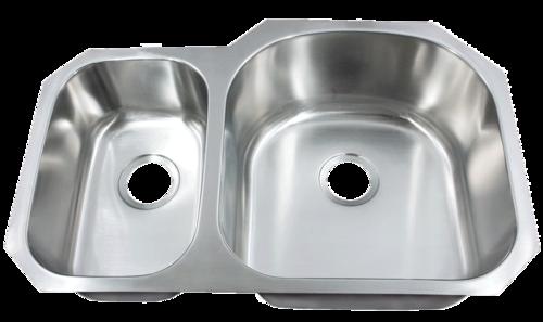 Futura FA708R Le Sabre Reverse 30/70 Double Bowl Undermount Stainless Steel Kitc | Leonet & Futura Stainless Steel Kitchen Sink