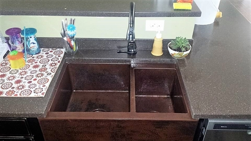 33 In. Copper Farmhouse 60/40 Split Kitchen Sink 10