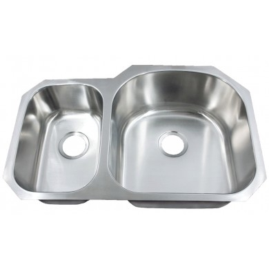 Leonet LE-297BR Regal 30/70 Double Bowl Undermount Stainless Steel Kitche | Leonet & Futura Stainless Steel Kitchen Sink