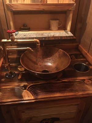 14 Round Copper Vessel Bath Sink In, Bathroom Copper Sinks