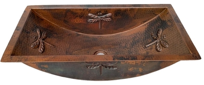 Rectangular Copper Bath Sink Dragon Fly Design, Available in 20