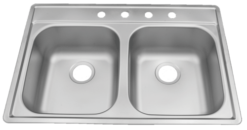 33 in Patriot PADD25 Oklahoman Drop-In Stainless Steel Double Bowl Kitchen Sink | Stainless Steel Kitchen Sink