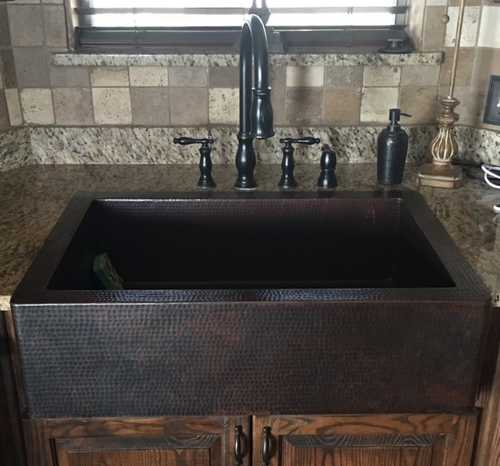 33 Copper Kitchen Farmhouse Sink 9 A Single Well Dark Coffee Finish