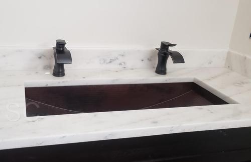 Rectangular Copper Trough Bathroom Sink