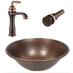 14 Round Copper Vessel Sink with Daisy Drain & 13