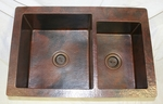 36 in Copper Kitchen Double Basin Sink 9/7