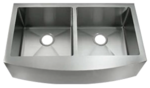 Image C-Tech-I LI-1200 36 in. Curved Handmade 50/50Double Bowl Sink with Rounded Corn
