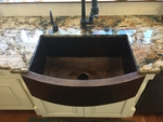Image SimplyCopper 33 in. Copper Farmhouse Kitchen Sink 10