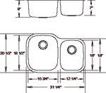 Royalty R02 Duke 60/40 Double Bowl Undermount Stainless Steel Kitchen Sink | Royalty & Tritan Kitchen Sink