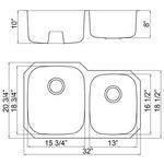 Futura FA108 Invicta 60/40 Double Bowl Undermount Stainless Steel Kitchen Sink | Leonet & Futura Stainless Steel Kitchen Sink