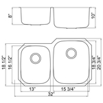 Futura FA108R Invicta Reverse 60/40 Double Bowl Undermount Stainless Steel Kitch | Leonet & Futura Stainless Steel Kitchen Sink