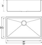 Homeplace HR-HBS3219B Jasper 15-Gauge 32 Inch  Stainless Steel Kitchen Sin   HomePlace Kitchen Sink
