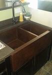 33 in. Copper Farmhouse 60/40 Split Kitchen Sink 10