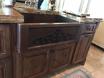Image SimplyCopper 33 in. Farmhouse Copper Kitchen Apron Sink Scroll Front