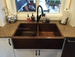 SimplyCopper 33 in. Copper Farmhouse Two Well Kitchen Sink 10