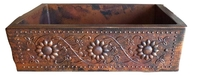 Image Copper Farmhouse SUNFLOWERS  Apron Front Sink Available in 30,