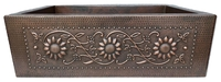 Image Copper Farmhouse SUNFLOWER Apron Front Sink Available in 30,