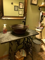 Image Round Copper Vessel Bathroom Sink, 15
