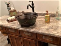 Image Distressed Copper Vessel Bucket Sink