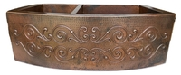 Image 40/60 Rounded Apron SCROLL Copper Farmhouse Sink Available in:  33