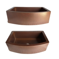Image Copper Farmhouse Sink Rounded Front  Available in 30,