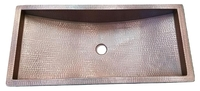 Image Brushed Brown Copper Trough Bath Sink Available in 30
