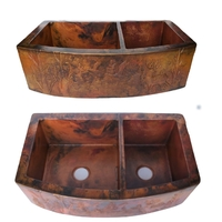 Image 60/40 WOODLAND Rounded Copper Farmhouse Sink Available in:  33