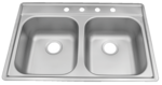 33 in Patriot PADD25 Oklahoman Drop-In Stainless Steel Double Bowl Kitchen Sink