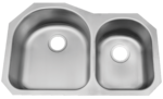 Image Patriot PAUD04 North Carolinian Undermount Stainless Steel 70/30 Bowl Kitchen S