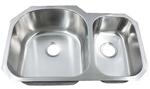 Leonet LE-297B Regal D-Bowl 70/30 Double Bowl Undermount Stainless Steel Kitchen